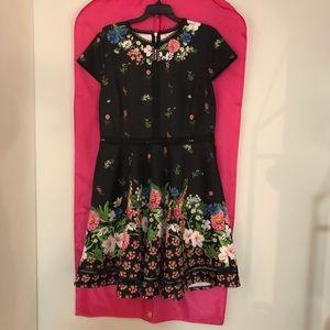 Ted Baker London floral a line dress size 12